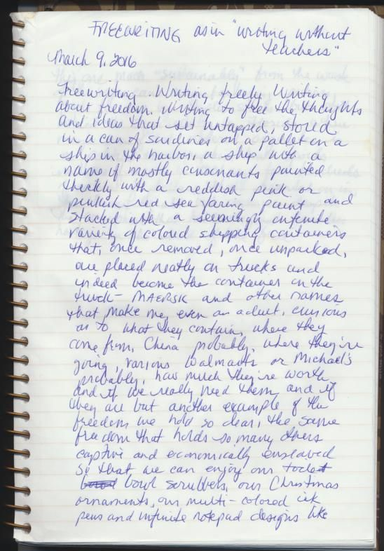 Freewriting exercise by Christopher J Zurcher.